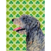 Irish Wolfhound St. Patricks Day Shamrock Portrait Flag Canvas