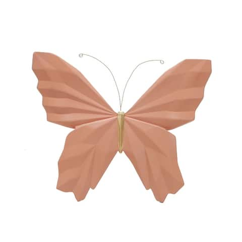 """Resin 8"""" W Origami Butterfly Wall Decor, Salmon - 8Lx1.5Wx7H"""