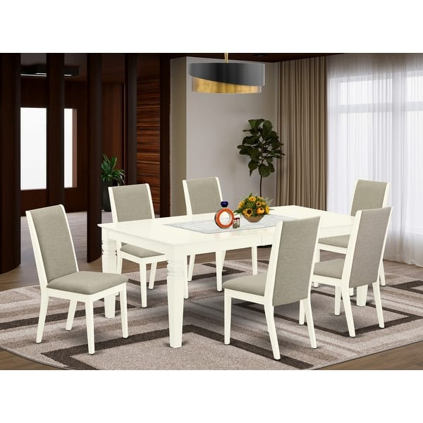 Shop Black Friday Deals On WELA7-BLK-47 7-Piece Kitchen Dining Table Set- 6 Parson Chairs And Butterfly Leaf Wood Table--High Back & Black Finish - Overstock - 32085569