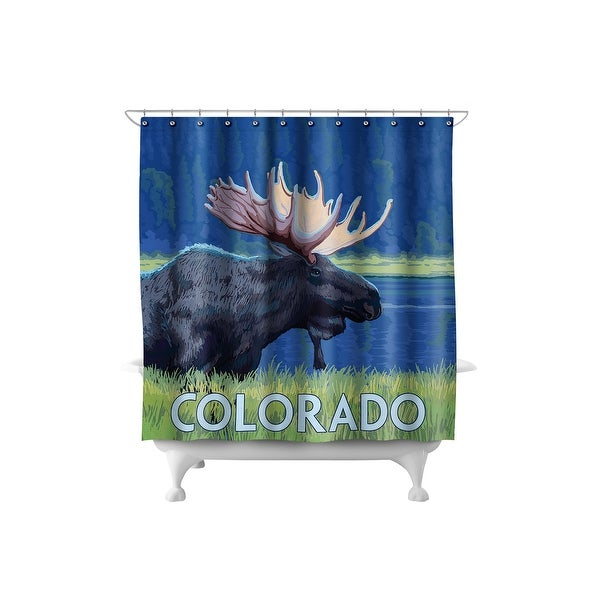 Colorado - Moose in Moonlight - LP Artwork (71x74 Polyester Shower Curtain)
