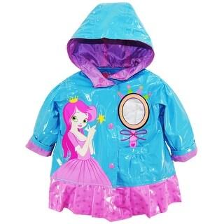 Wippette Baby Girls Rain Coat Waterproof Vinyl Hooded Princess Raincoat Jacket (Option: 18 Months)