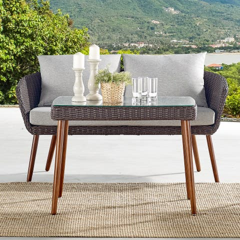Caluma Outdoor Wicker Tall Glass Top Cocktail Table by Havenside Home
