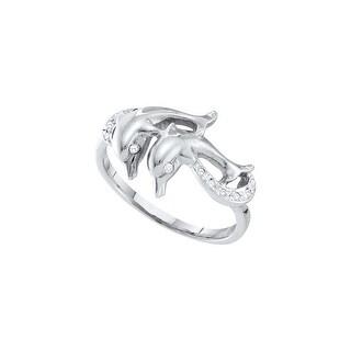 1/20Ctw Diamond Dolphin Ring White-Gold 10K