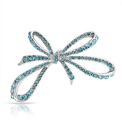 Bling Jewelry Blue Imitation Aquamarine Crystal Ribbon Pin Rhodium Plated