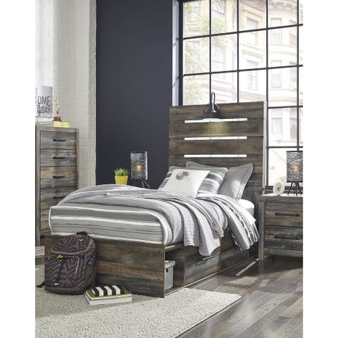 Drystan Rustic Brown Panel Bed with 2 Under Bed Storage Drawers