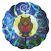 Next Innovations  10 in. Wise Mr Owl Wind Spinner Yard Decor