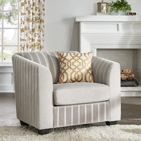 Carol Grey Pleated Velvet Accent Chair by iNSPIRE Q Bold