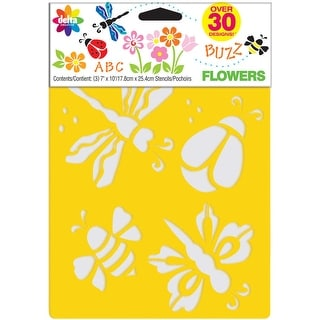 "Stencil Mania Stencils 7""X10"" 3/Pkg-Flowers"
