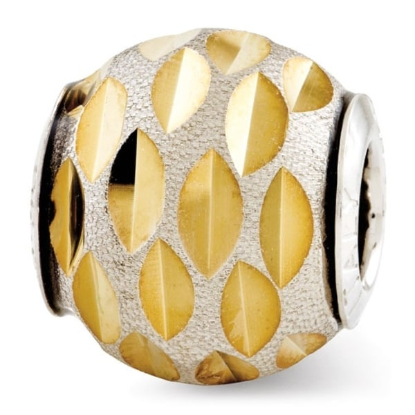 Italian Sterling Silver Reflections Velvet Gold-plated Diamond Cut Bead (4mm Diameter Hole)