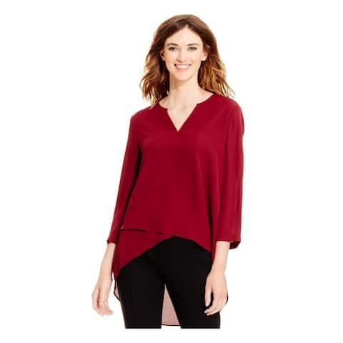 ALFANI Womens Maroon 3/4 Sleeve V Neck Top Size 4