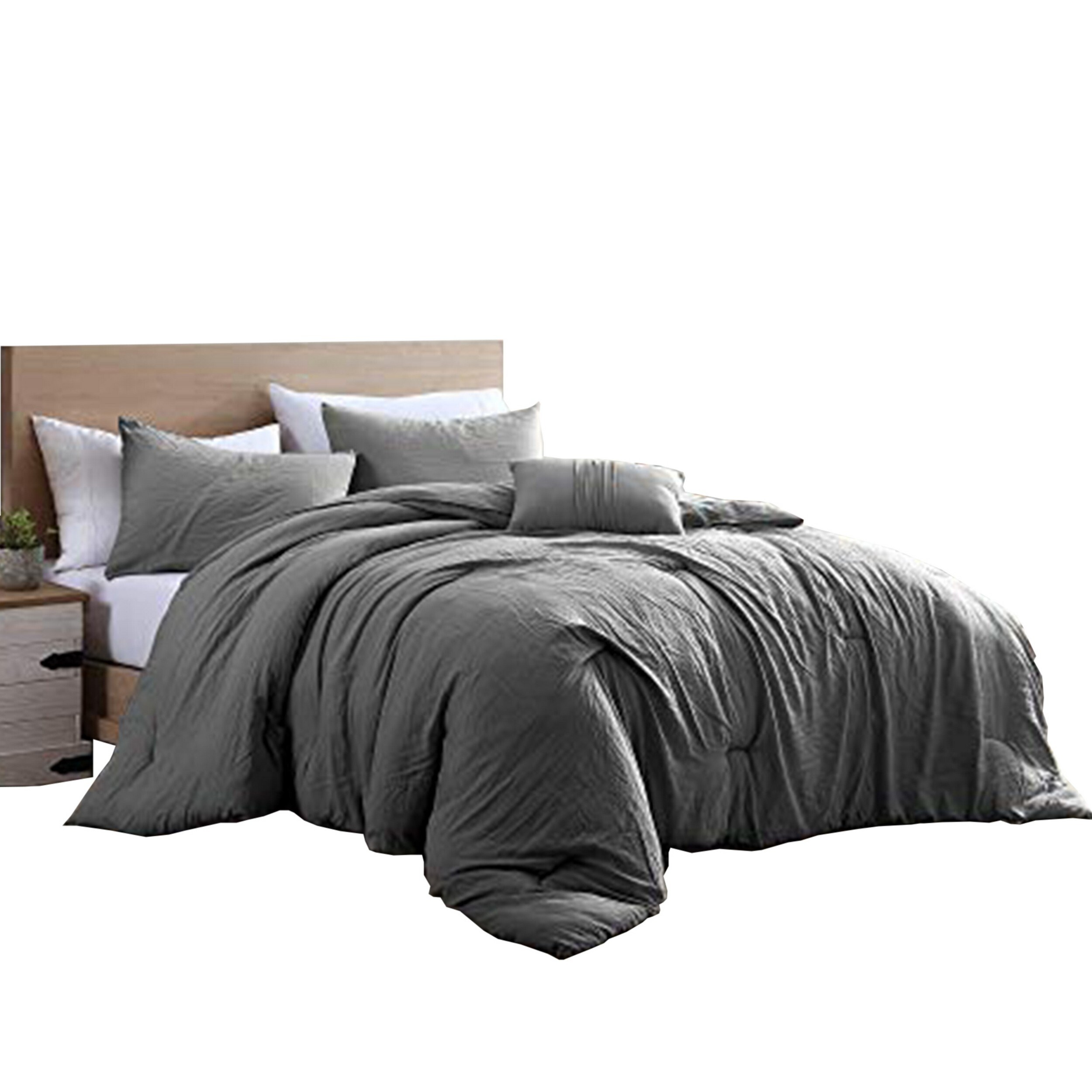 Helsinki 4 Piece Textured Microfiber Queen Comforter Set The Urban Port Charcoal Gray On Sale Overstock 32269584