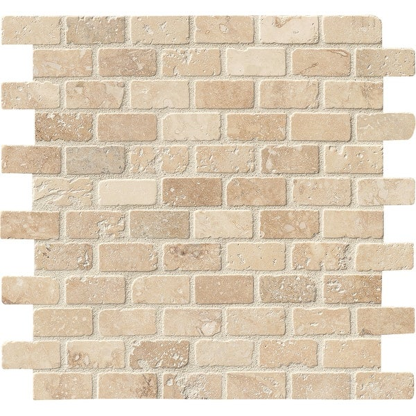 "MSI THDW3-SH-BRI1X2T 1"" x 2"" Brick Joint Mosaic Tile - Tumbled Travertine Visual - Sold by Carton (10 SF/Carton) - Chiaro"