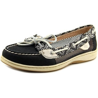 Sperry Top Sider Angelfish Tribal Women Moc Toe Leather Black Boat Shoe