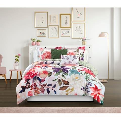 Porch & Den Spring Crest Floral Print 9-piece Reversible Bed in a Bag Comforter Set