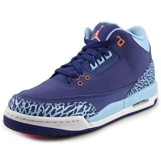 Jordan Air Jordan 3 Retro GS Youth Round Toe Canvas Purple Sneakers