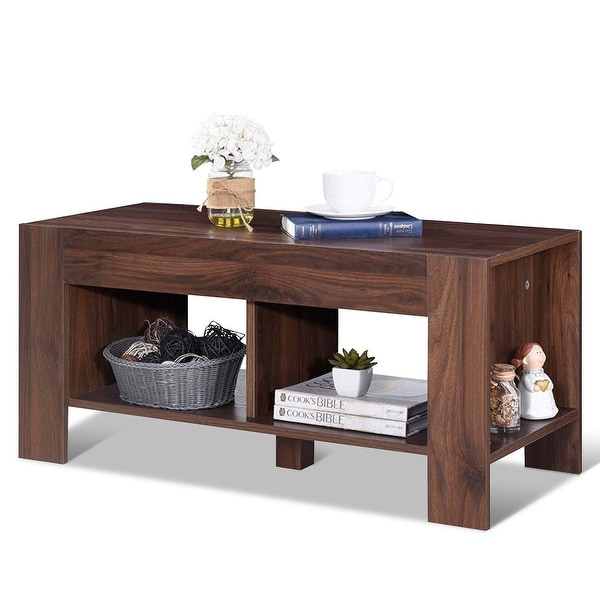 Wooden Side Tables For Living Room: Shop Costway 2-Tier Wood Coffee Table Sofa Side Table W
