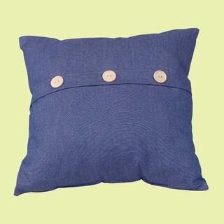 Button Cotton Pillow Poly Blend 17 Square