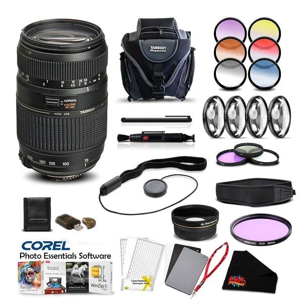 Tamron 70-300mm f/4-5.6 Di LD Macro Autofocus Lens for Nikon Pro Accessory Kit - black
