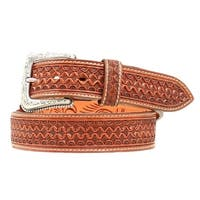 Nocona Western Belt Mens Leather Tooled Square Weave Copper