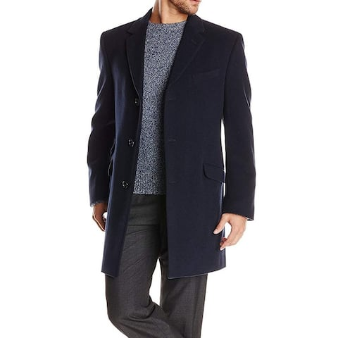 Tommy Hilfiger Mens Blue 42S Short Bryce Single Breasted Wool Top Coat