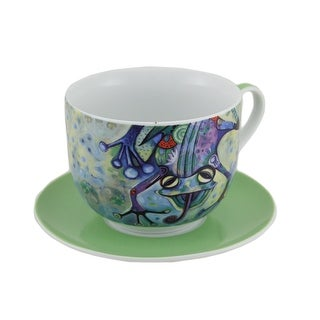 Allen Designs Smiling Frog Ceramic Cup and Saucer Set w/Gift Box