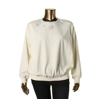 Alfred Dunner Womens Plus Fleece Embellished Pullover Sweater
