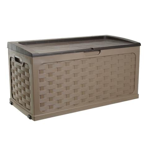 Starplast 88 Gallon Plastic Deck Box, Mocha/Brown