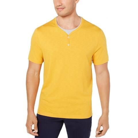 Tasso Elba Plus Men's Layered-Look T-Shirt, Yellow, XXL