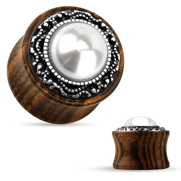 Tribal Pattern Faux Pearl Center Organic Wood Saddle Plug (Sold Individually)