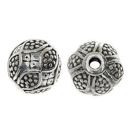 Lead-Free Pewter Beads, Round W/ Bumpy Floral Pattern 11.5mm, 6 Pcs, Silver