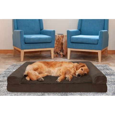 FurHaven Pet Bed Plush & Suede Cooling Gel Top Sofa Dog Bed