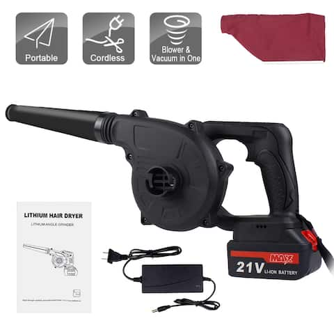 Cordless Leaf Blower Dust Vacuum 2-in-1 Designed for Yard Work and Hard Surface Sweeping with Battery Charger - One Size