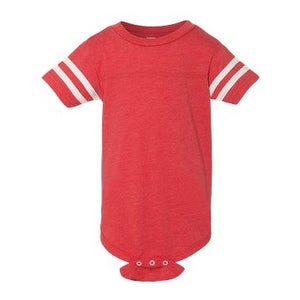 Infant Football Fine Jersey Bodysuit - Vintage Red/ White - NB
