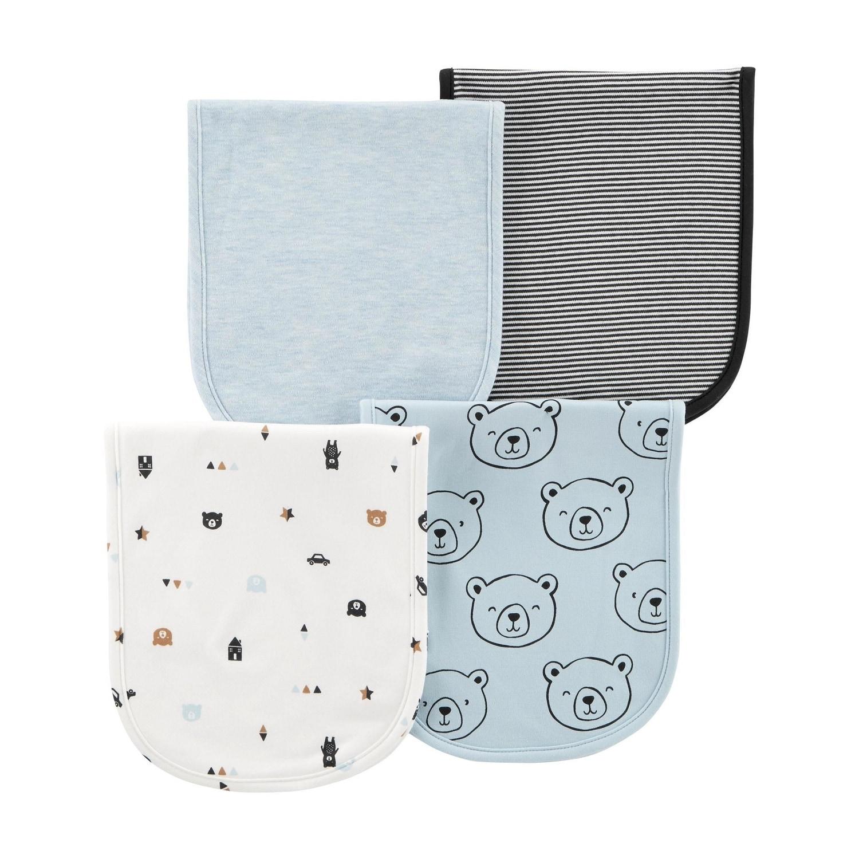 Carters Baby Boys 4 Pack Cotton Burp Cloths Blue//Heather//Stripes