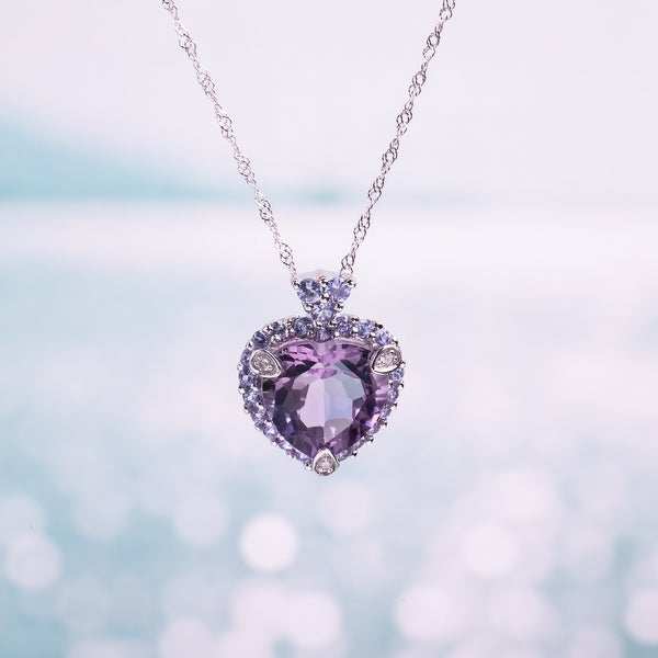 Miadora 10k White Gold Amethyst, Tanzanite and Diamond-accented Necklace. Opens flyout.