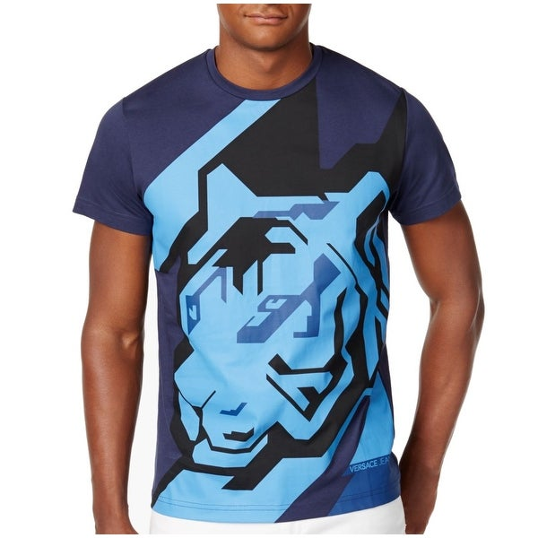 aeb435a90 Shop VERSACE JEANS Blue Men Large L Geographic Tiger Graphic T-Shirt - Free  Shipping Today - Overstock - 22362777