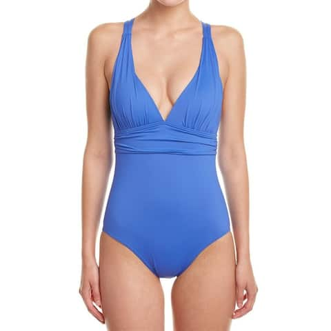 Echo Blue Womens Size 6 Cross Back V-Neck One-Piece Swimwear