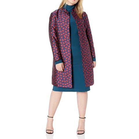 Anne Klein Womens Jacket Blue Size 18W Plus Printed Snap Button Topper