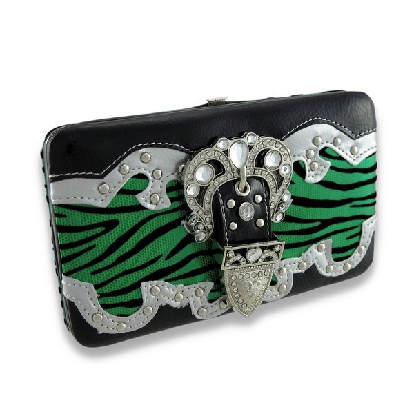 Metallic Flocked Zebra Print Flat Wallet W/Jeweled Rhinestone Buckle