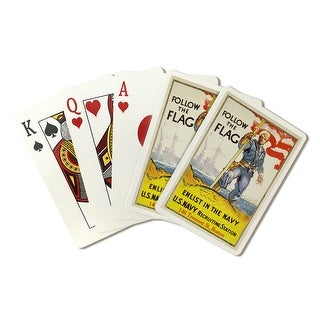 US Navy - Follow The Flag - Vintage Advertisement (Playing Card Deck - 52 Card Poker Size with Jokers)