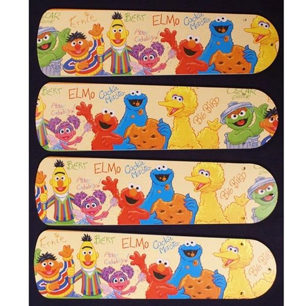 Sesame Street Characters Custom Designer 42in Ceiling Fan Blades Set - Multi