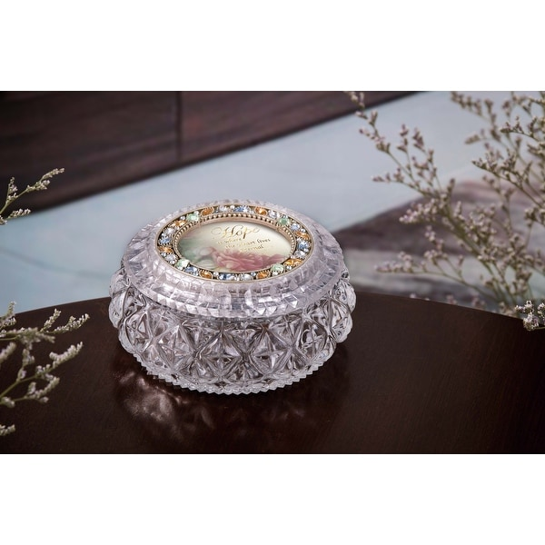 """Set of 2 Clear and Gold Contemporary Diamond Cut Round Box 4.5"""" - N/A"""