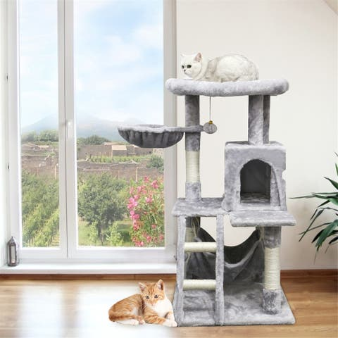 """41"""" Cat Tower, Multi-Level Cat House Condo with Large Perch, Scratching Posts & Hammock, Cat Climbing Stand"""