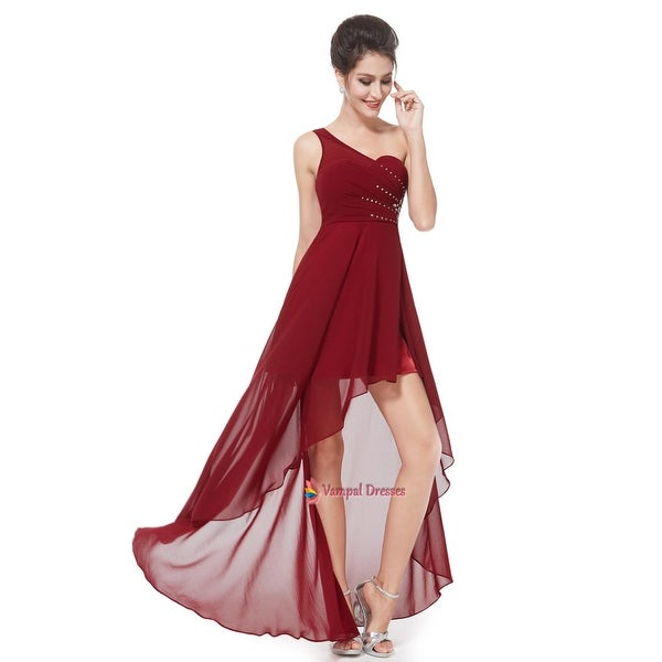 bcefd034e7c Shop Burgundy Chiffon One Shoulder High Low Prom Dress