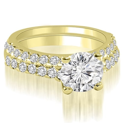 1.35 cttw. 14K Yellow Gold Cathedral Round Cut Diamond Bridal Set