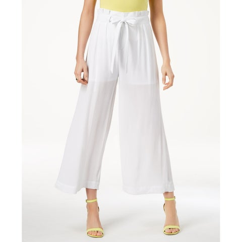 XOXO White Womens Size 10 Wide-Leg Belted Cropped Dress Pants