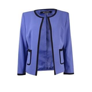 Nine West Women's Contrast Trim Collarless Pocket Blazer - majesty/black