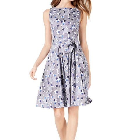 Anne Klein Womens A-Line Dress Blue Size 4 Tie-Waist Printed Pleated
