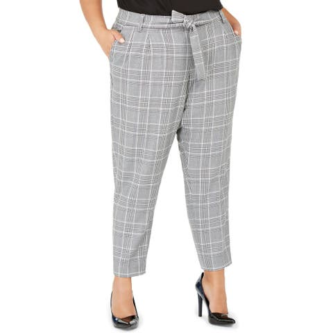Calvin Klein Womens Plus Ankle Pants High Waisted Houndstooth - Black/White
