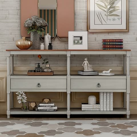 Console Table Sofa Table with 3-Tier Open Storage Shelf and 2 Drawers